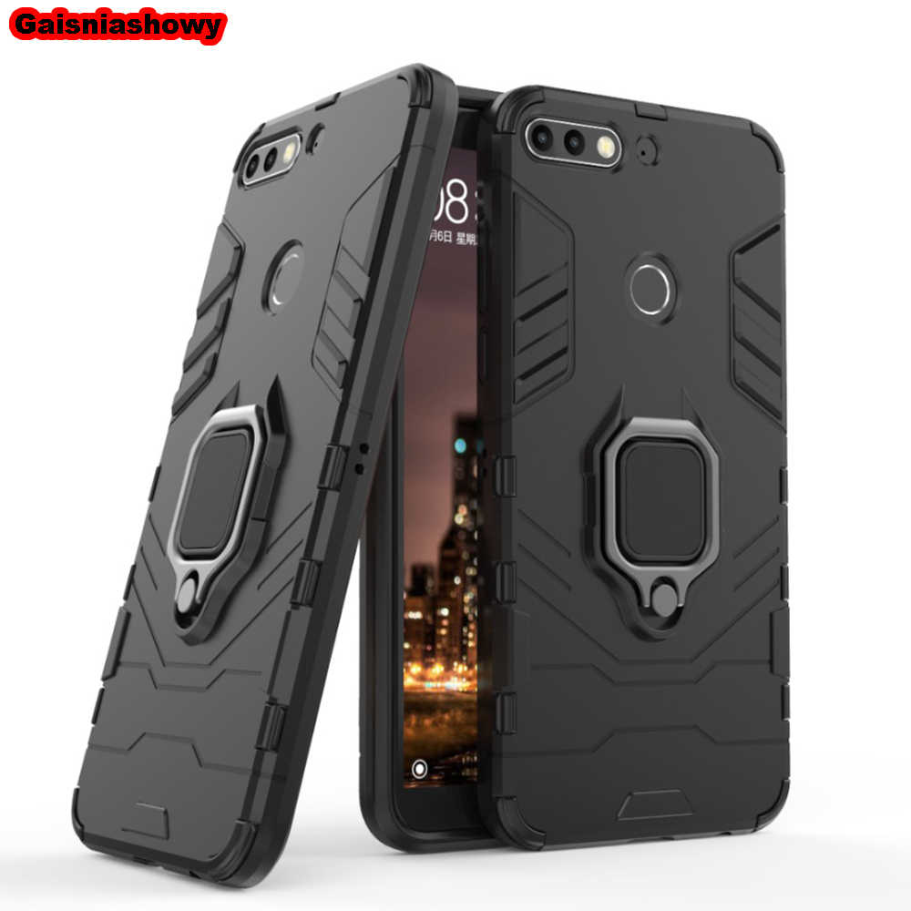 Shockproof Armor Case For Huawei P Smart Kickstand Finger Ring Holder Case For Huawei Enjoy 7S Phone Case Cover Shell Capa
