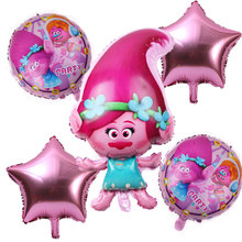Nova 5 pcs/piece Troll Xenon Foil Birthday Party Balloons Decoração Crianças Brinquedos de Aniversário Balão