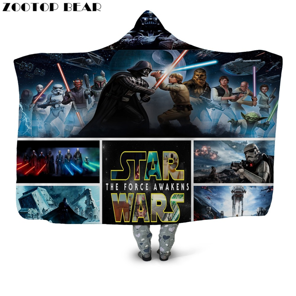 Hete Verkoop 2019 Nieuwe Star Wars Hooded Deken De Kracht Wekt Print Sherpa Fleece Wearable Deken Blauw Gooi Dekens Voor Bed Sofa