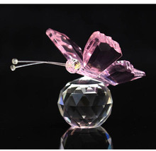 6 Colors Crystal Animal Butterfly Crafts Glass Paperweight Natural Stones Figurines Decor Ornaments Home Wedding Souvenir Gifts