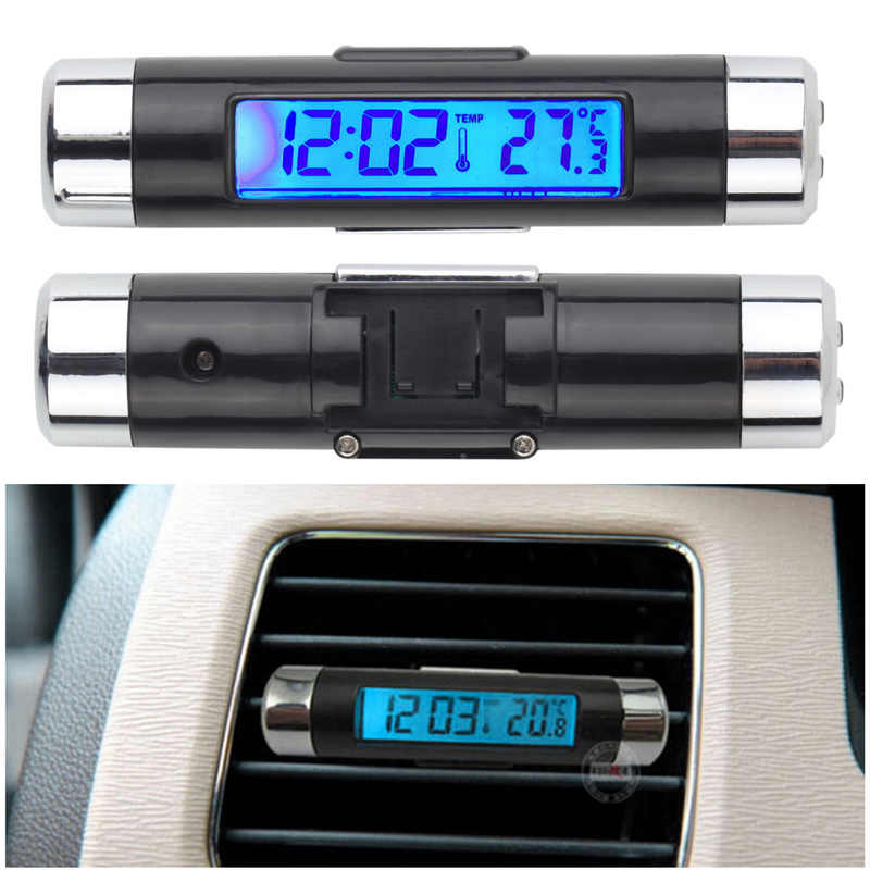 2In1 Car Electronic Clock Digital LCD Clock Temperature Display Auto Thermometer Car Automotive Blue Backlight Car Accessories