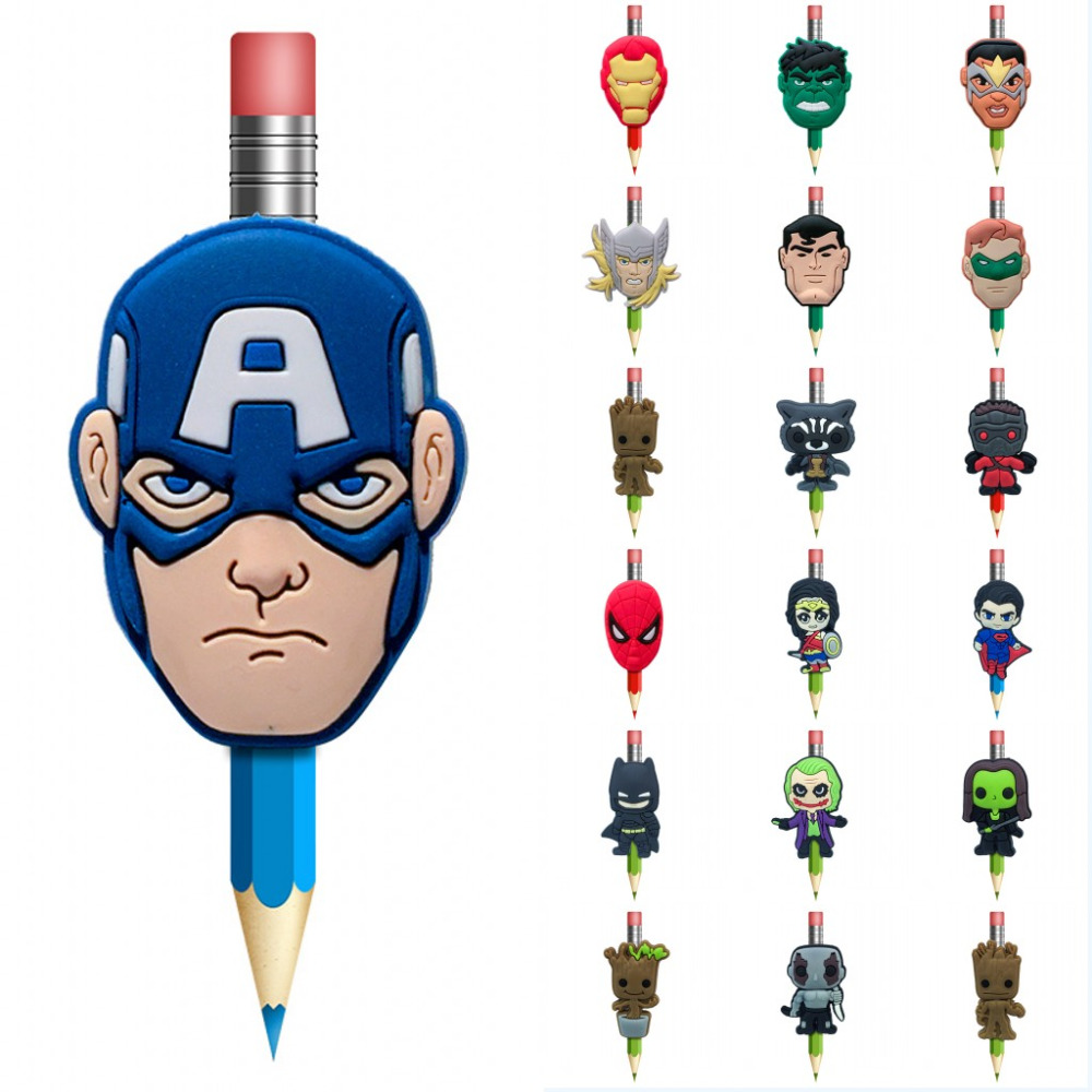 1PCS Avenger Pens Topper Straw Charm Superhero Stationary Office&School Supplies Joker Pencil Grip Pen Caps Cover Kids Gift