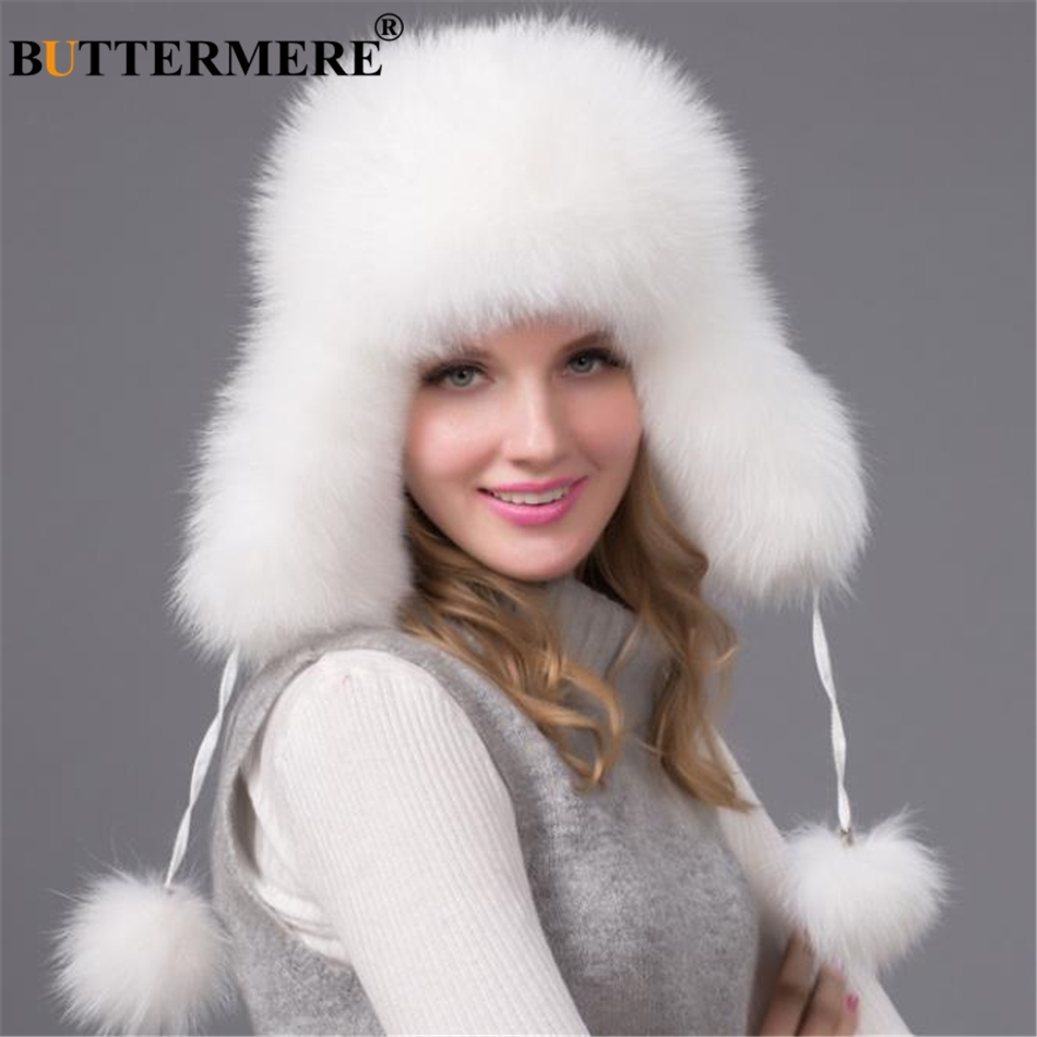 BUTTERMERE Bomber Hat Real Raccoon Fur Pom Pom Russian Ushanka Hats For  Women Earflaps White Winter Warm Female Outdoor Bombers 5d874cbf9067
