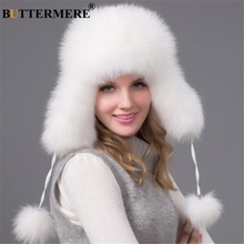 BUTTERMERE Bomber Hat Real Raccoon Fur Pom Pom Russian Ushanka Hats For Women Earflaps White Winter Warm Female Outdoor Bombers