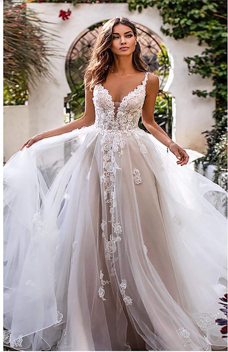 LORIE une ligne robe de mariée fleurs 3D Spaghetti sangle robe de mariée 2019 dos nu princesse longue Boho étage longueur robe de mariée