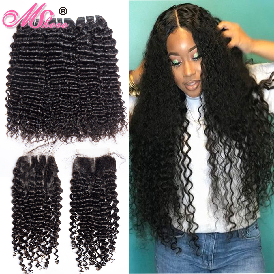 Mshere Curly Wave Closure Bundles Human-Hair Lace Peruvian Deep with Free-Part 4pcs/Lot