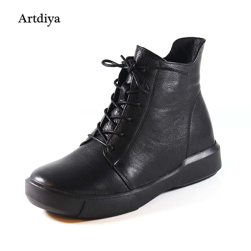 Artdiya 2017 Winter New Thick Heels Round Toe Fashion Lace Up Boots Genuine Leather Ankle Boots Handmade Martin Boots Black 1022 fashion genuine leather chelsea boots handmade keep warm winter boots round toe thick heels concise ankle boots for women l08