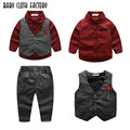 2017 fashion style boy clothes gentleman 3pieces/set party and wedding long sleeve kids boy clothing set free shipping