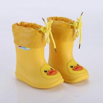 Непромокаемые сапоги для девочек, водонепроницаемая обувь для маленьких мальчиков, Нескользящие резиновые сапоги, теплые детские непромок...