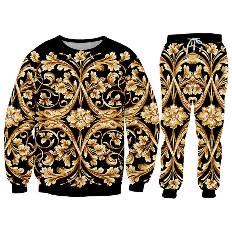 Novelty Baroque Hoodie Sweatshirt Jogger 2 Piece Set Luxury 3D Royal Golden Flower