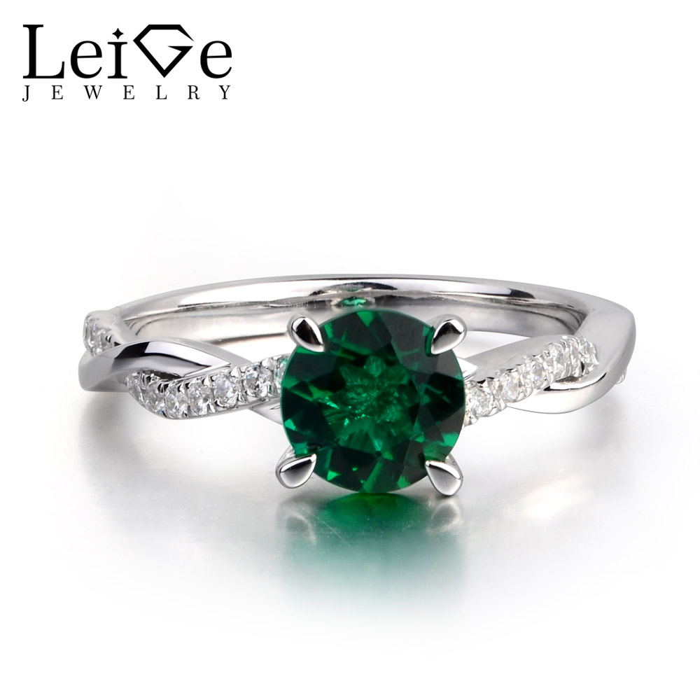 LeiGe Jewelry Lab Emerald Green Gemstone 925 Sterling Silver May Birthstone Engagement Rings For Woman leige jewelry emerald engagement rings for women pear shaped ring sterling silver 925 fine jewelry green gemstone may birthstone