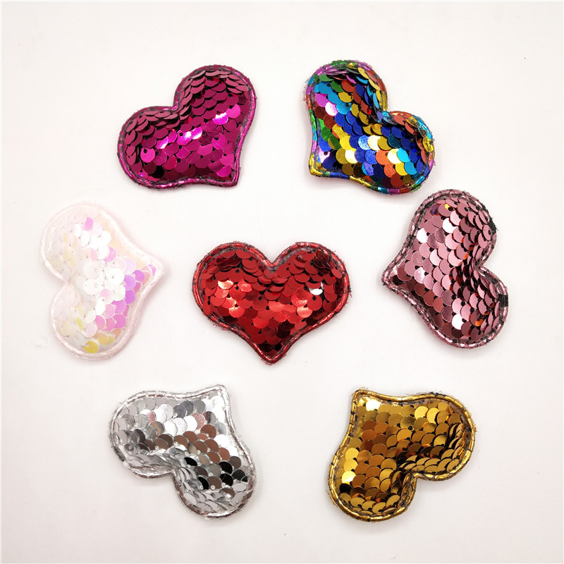 24 Pcs  Iron-On Hearts  Appliques 2 Sizes 1 Sheet  Metallic Silver Color NIP