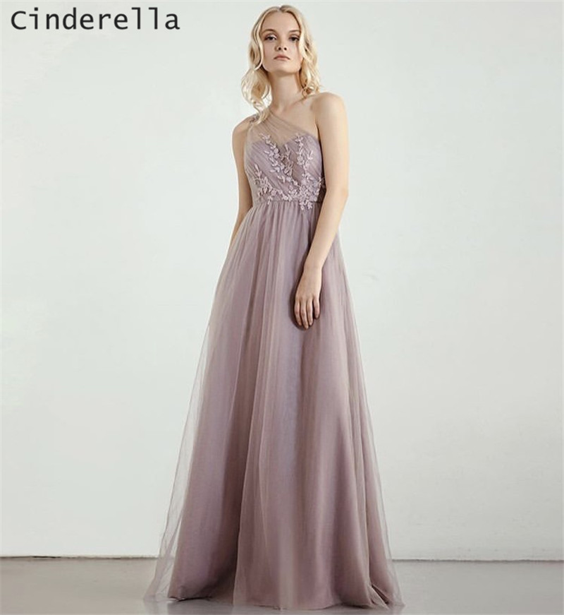 Cinderella Lavender One Shoulder Lace Applique   Bridesmaid     Dresses   Ivory/Champagne/Silver Soft Tulle Lace   Bridesmaid   Gown