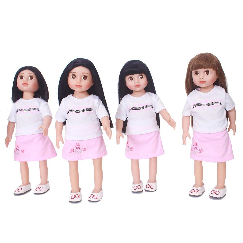 18 pollici Bambola In Vinile 45 centimetri In Vinile Baby Doll rinato Bambola Americana Stile di Capelli Diverso moneca Bebe Giocattolo per le Ragazze regalo di compleanno-in Bambole da Giocattoli e hobby su  Gruppo 1