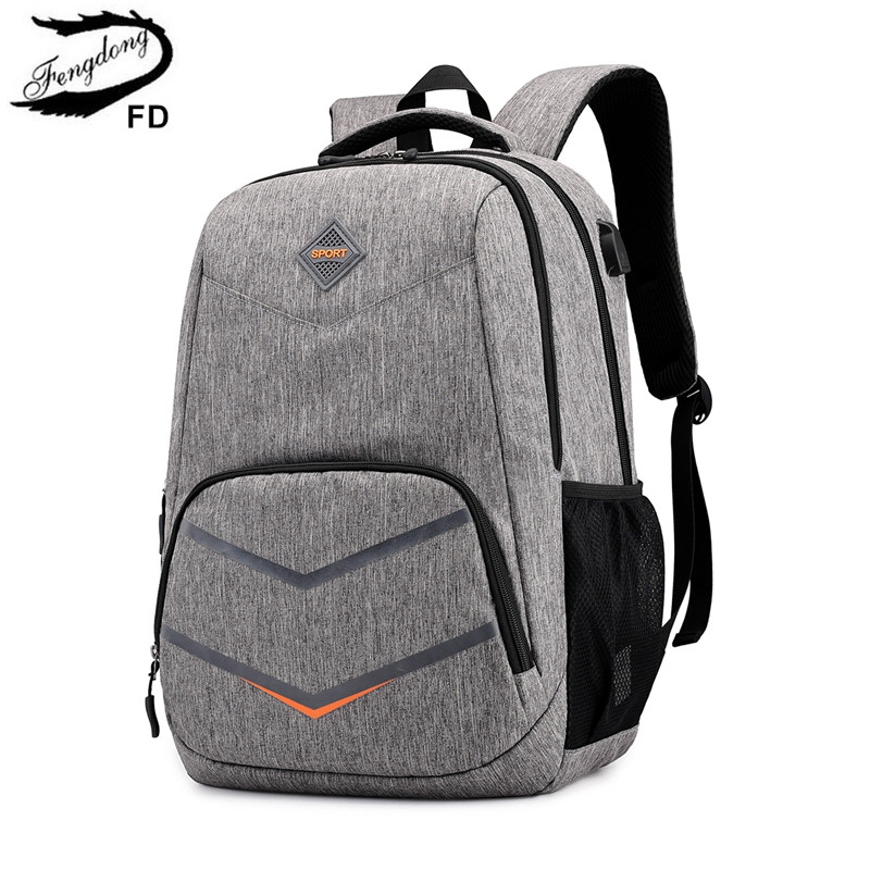 FengDong high school bags for teenage boys travel backpack boy laptop bag 15.6 kids school bag boy schoolbag backpack usb charge(China)