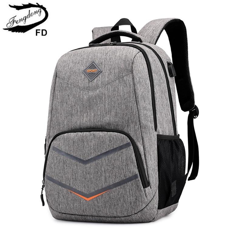 FengDong High School Bags For Teenage Boys Travel Backpack Boy Laptop Bag 15.6 Kids School Bag Boy Schoolbag Backpack Usb Charge