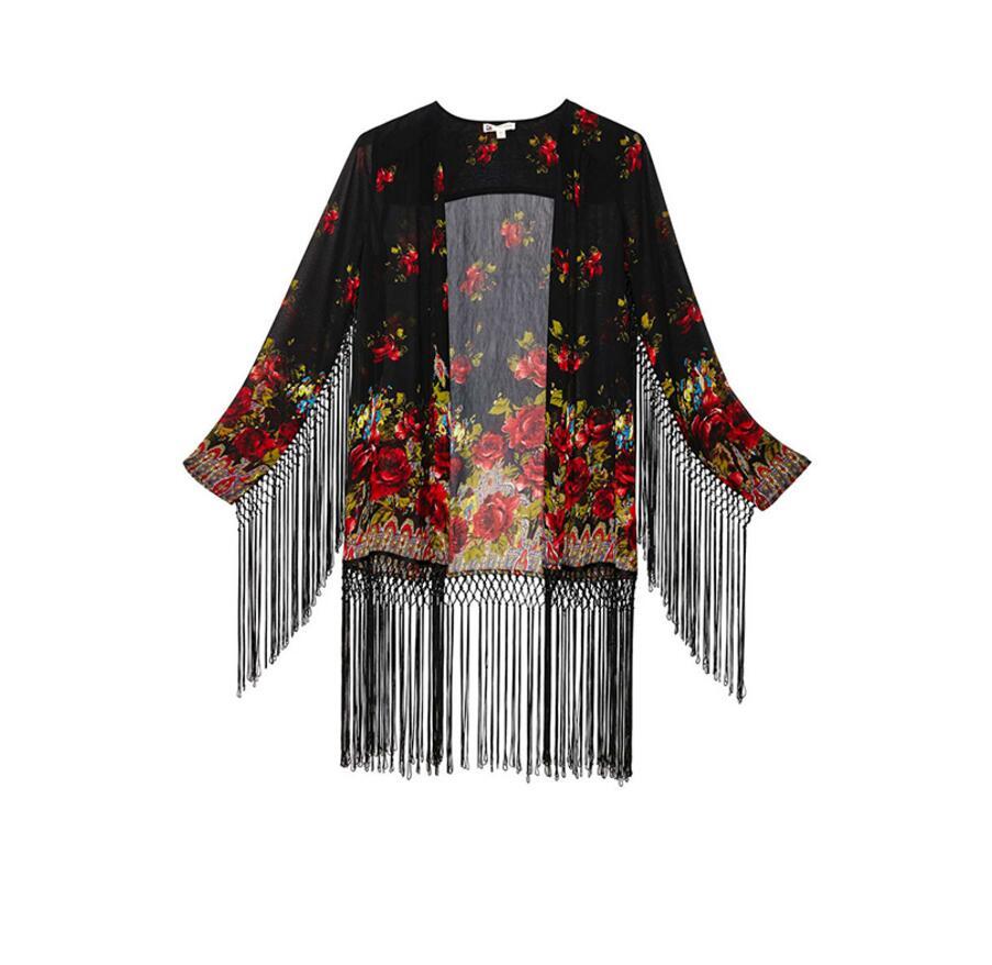 FFTAIQI new street fashion spring summer Floral printing chiffon woman font b blouse b font elegant