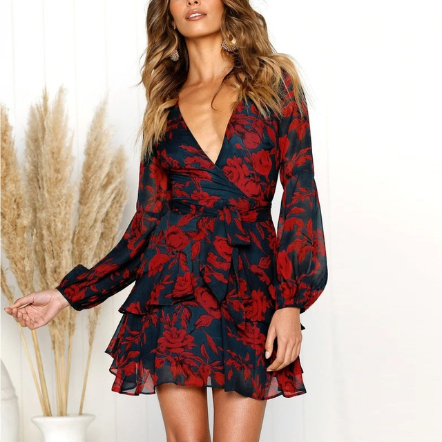 Spring and Summer D Europe and America Women Sexy V-neck Print Lace Dress