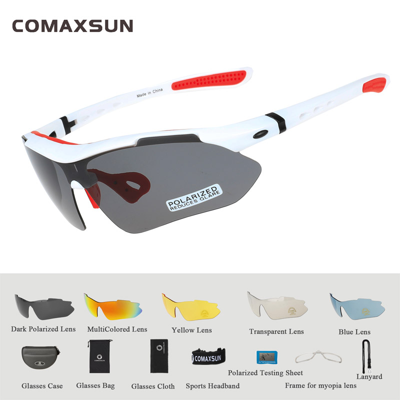 COMAXSUN Professional Polarized Cycling Glasses Bike Goggles Outdoor Sports Bicycle Sunglasses UV 400 With 5 Lens TR90 2 Style 15