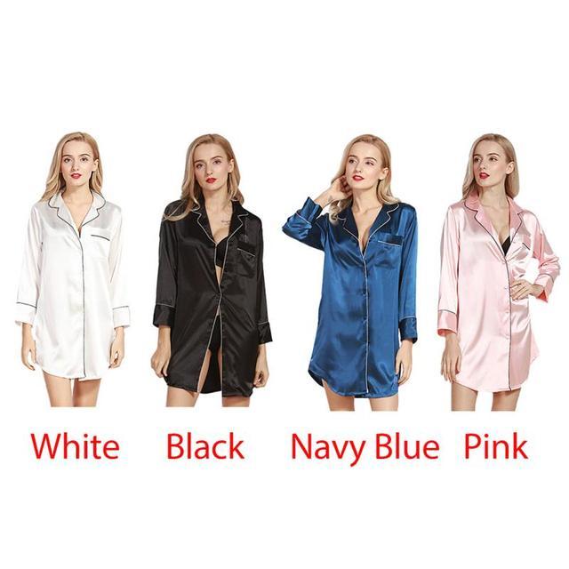 Women Nightwear Sexy Silk Nightdress Babydoll Nightdress Long Sleeve Shirt Blue Housewear Sleepwear White Black Pink Sleepwares 5
