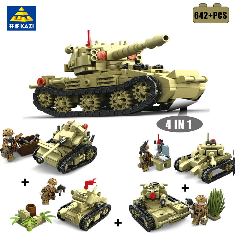 KAZI 642Pcs Military 4 Style Army War SK105 Tank Building Blocks Weapon Tank Bricks Playmobil Toys For Children