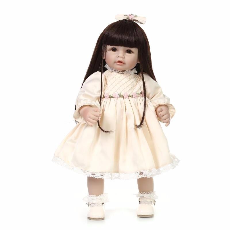 52 cm poupée nouveau-né Silicone souple vinyle réaliste Reborn bébé bebe menina longhair bébé reborn poupées pour filles cadeau de noël tout-petits