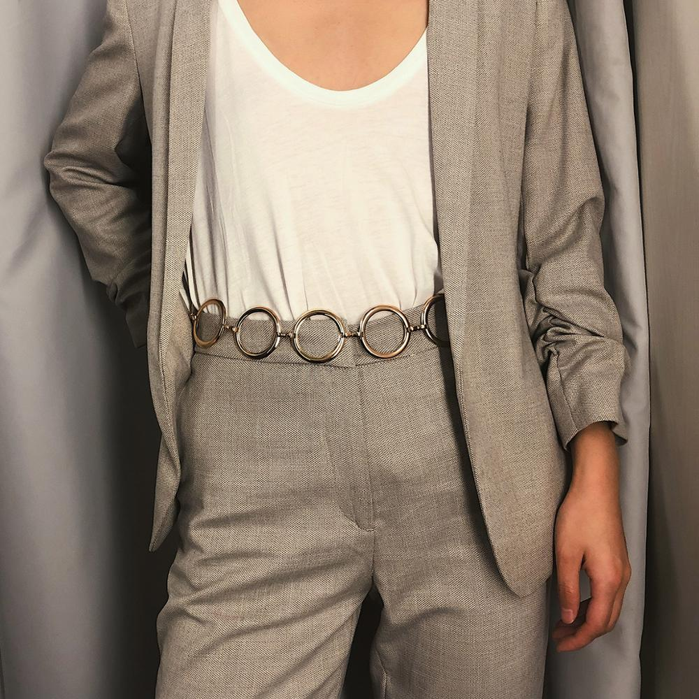 Korean Elegant Women's Metal Large Ring Belt Dress Decoration Fashion Gold Waist Chain Femininity Chain 115cm