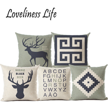 Happy Deer Animal Cushion Cute Cartoon Home Pillow Decoration CushionCover Childlike Simplicity Decorative Pillow Throw Cojines