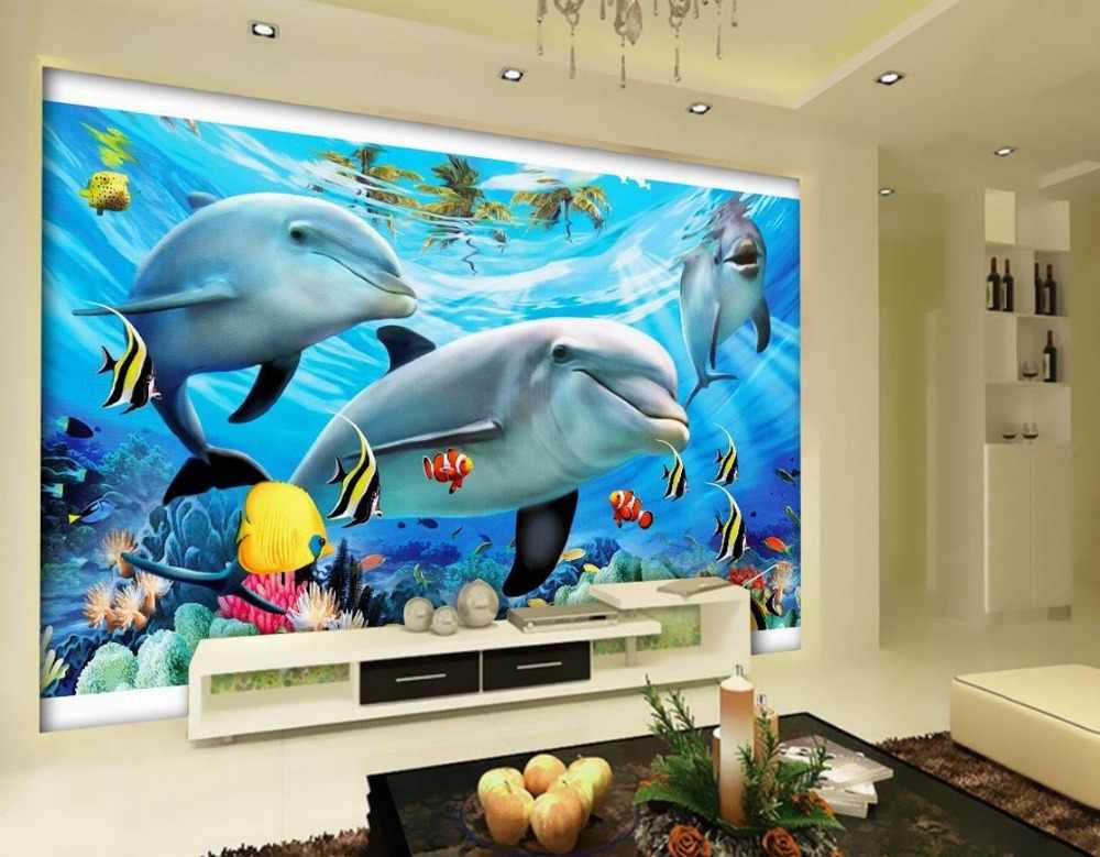 Papel tapiz pared mural océano delfín 3d Papel tapiz estereoscópico decoración del hogar 3d Papel tapiz flor