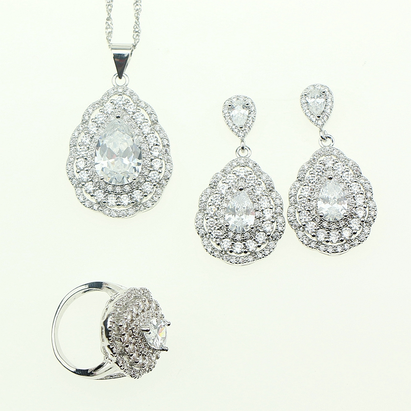 Fashion Women Sterling Silver 925 Jewelery White Cubic Zirconia Crystal Earrings/Pendant/Necklace/Ring Jewelry Sets