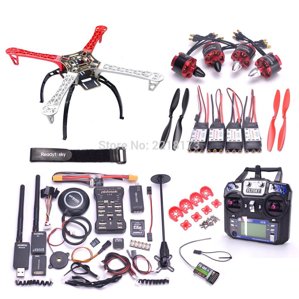 F450 450 Quadcotper Kit de marco de Pixhawk 2.4.8 32 poco controlador de vuelo con M8N GPS 433 telemetría 2212 920kv motor Flysky i6 FS-I6