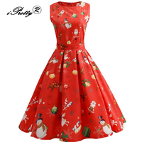 Vintage Autumn Winter Tunic Christmas Dress Women Retro Hepburn Style 2017 O Neck Sleeveless Swing Rockabilly