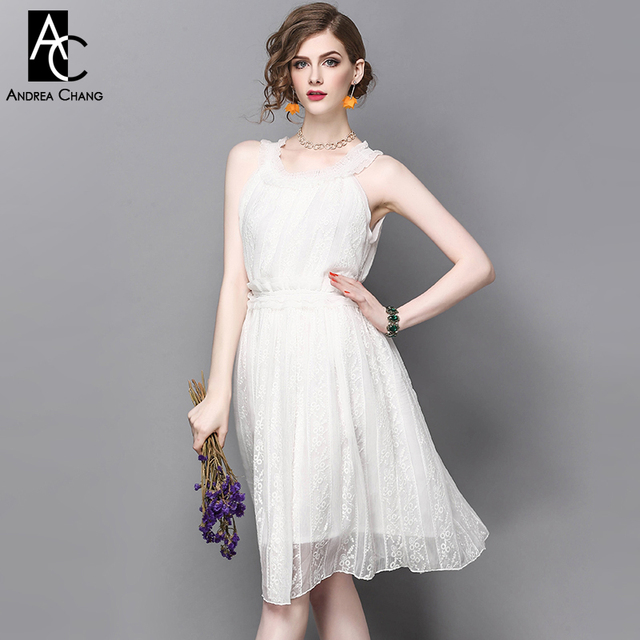7b6dcf24c27 spring summer runway designer womans dresses white knee length dress slash  collar off shoulder floral embroidery cute sexy dress