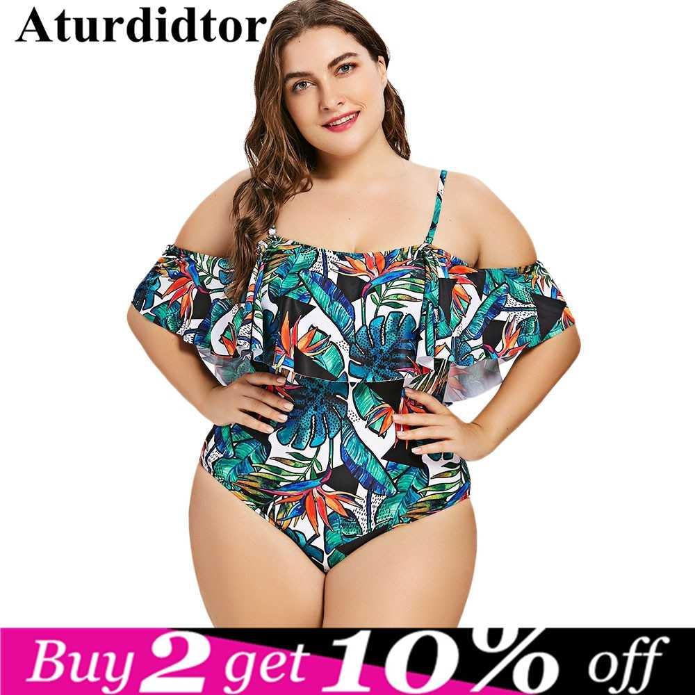 ecd03ccb9f5c2 XXXL Plus Size Swimwear Women Flounce Green Leaf Print One Piece Swimsuit  Large Size Bathing Suit