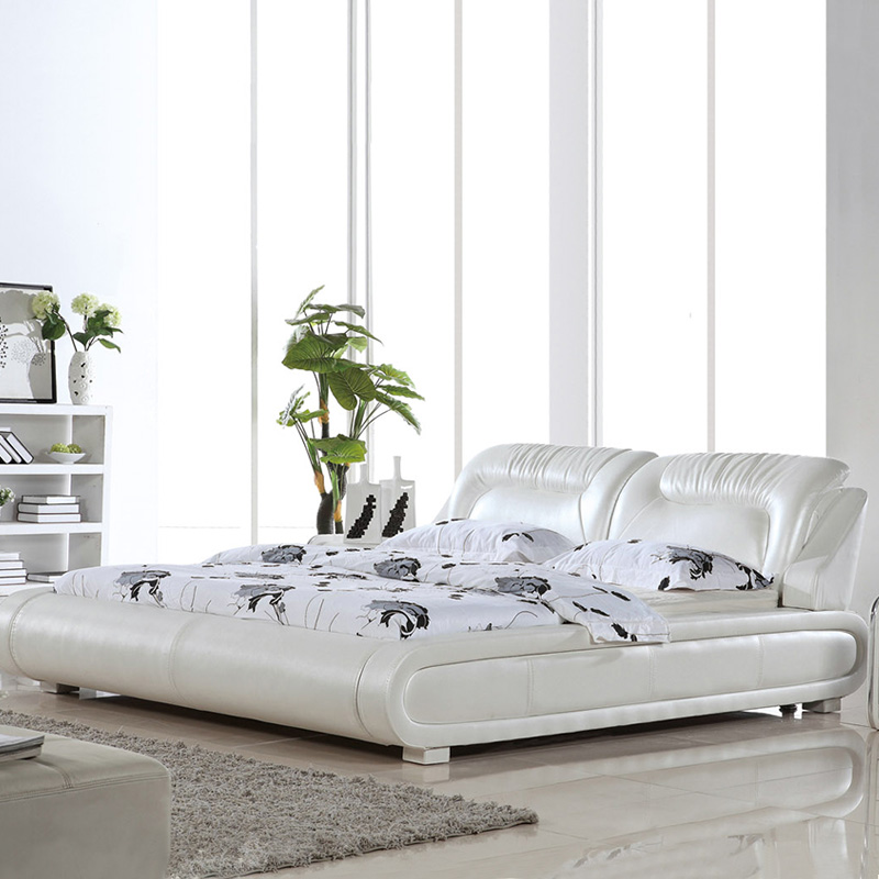 bedroom fruniture leather bed, soft bed, 1.8 kingsize bed, factory wholesale price offered, sea shippment  morden designH8048 bed