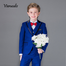 Blue Kid's 3 Piece Wedding Groom Tuxedos Flower Boys Children Party Prom Suits boys 3pcs suits flower boys wedding tuxedo 3 piece suits page boy party formal custom