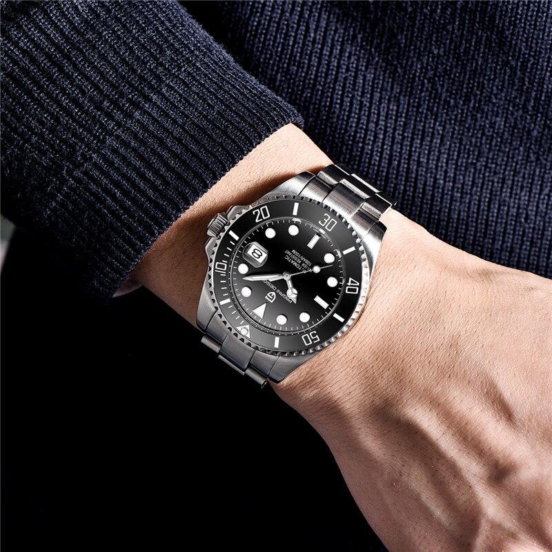 42 мм Corgeut/стерильный циферблат/Часы с сапфировым стеклом черный циферблат автоматические механические мужские наручные часы - 4