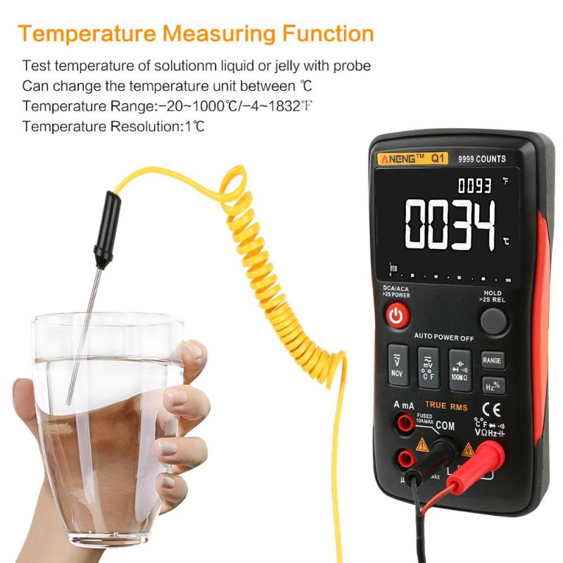 Q1 Model True-RMS Digital Multimeter Button 9999 Counts With Analog Bar Graph AC/DC Voltage Ammeter Current Ohm Auto/Manual