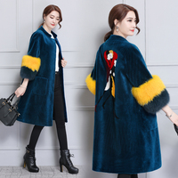 X Long Women's Fur Coats Faux Fur Coat Female Artificial Fox Fur Ladies Long Sleeves Jacket Winter Embroidery Warm Long Overcoat