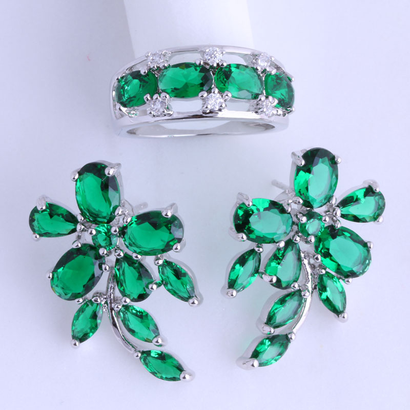 Love Monologue Lrregular Style Green Imitation Emerald 925 Stamp Silver Color Ring & Stud Earring Jewelry Sets for Women JS003