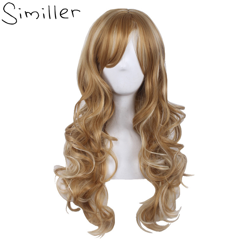 Similler Women Long Curly Heat Resistant Cosplay Synthetic Wigs Gold Highlight Hair