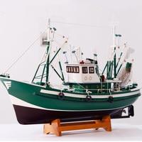 American Style Fishing Boat Model Decoration Simulation Wooden Sailboat Model Art Craft 85cm Mediterranean Manual Accessories