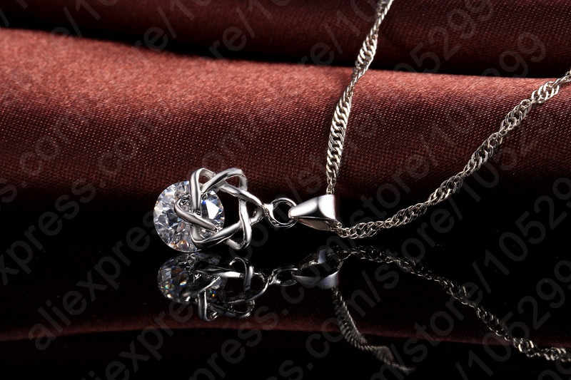 Creative Pentagram Design Pandent Hanging Clear crystal for women Pretty   Necklace and Elegant Earrings Jewelry Set