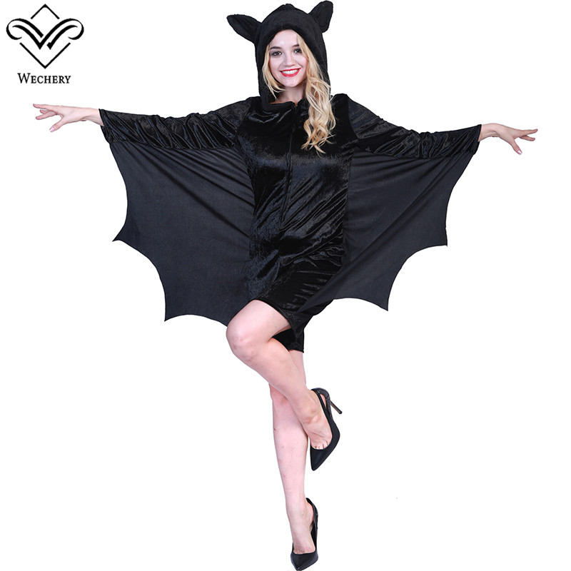 Wechery One Piece Costume Women All Black Bat Sleeve Halloween Cosplay Jumpsuit with Hat Carnival Festival Clothing