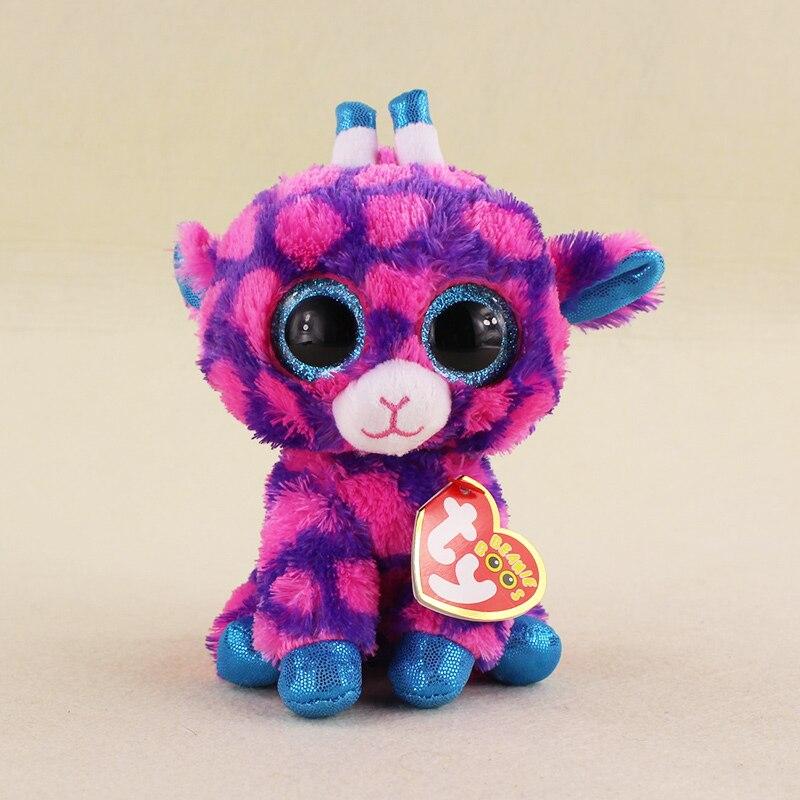 15cm Ty Beanie Boos Big Eyes Sika deer Bambi Purple Giraffe Stuffed Animal Plush Doll for