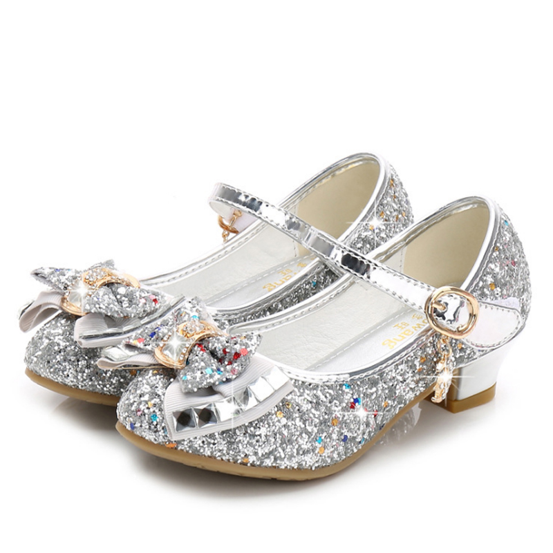 Image 3 - Princess Kids Leather Shoes for Girls Flower Casual Glitter Children High Heel Girls Shoes Butterfly Knot Blue Pink Silver-in Sandals from Mother & Kids