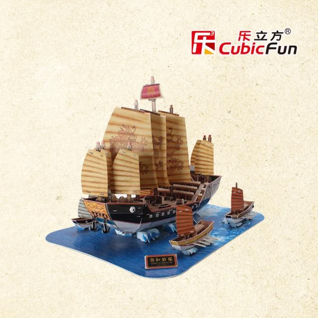 The Zheng Hes Fleet Old Ship T4016h Cubicfun 3D Puzzle Handmade DIY Toy Construction Paper Jigsaw