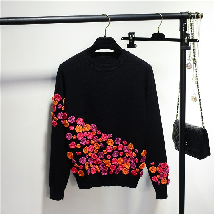 Hchenli Brand 2018 Women Beaded Flower Sweater Colorful Sweater Pullover Ladies Knitwear Fashion Contrast Color Sweatersuits