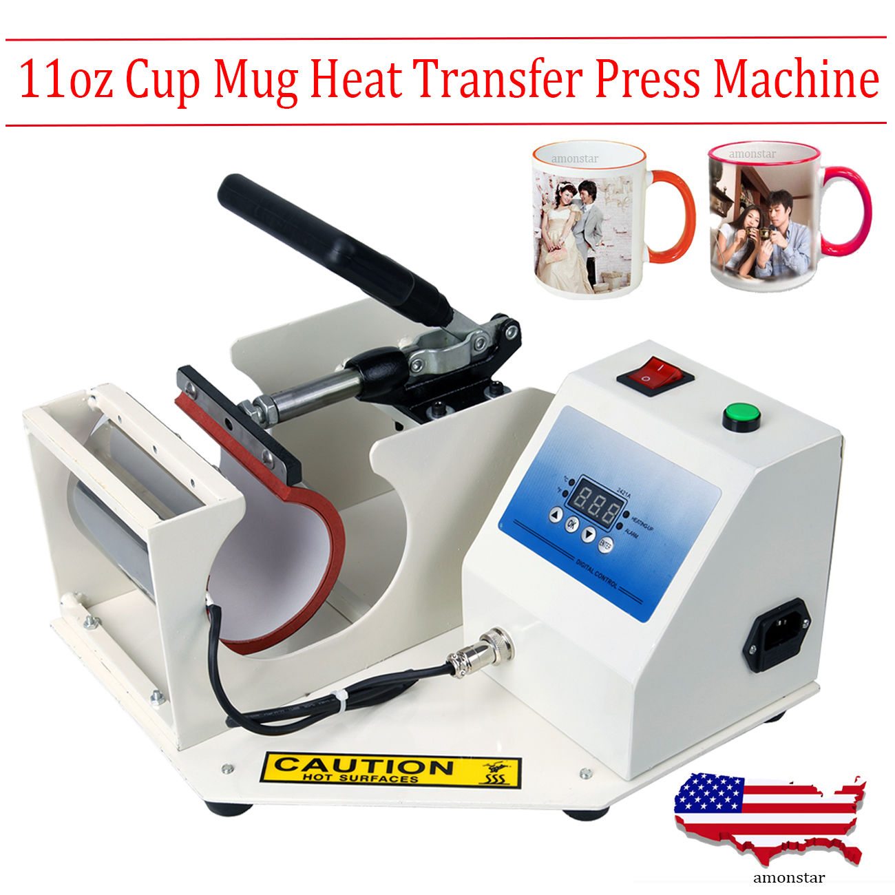 Display Mug Heat Transfer Press Machine 250 Degree Cup Sublimation Printing 11oz new design single display 7 in 1 heat press machine mug cap plate tshirt heat press sublimation machine heat transfer machine