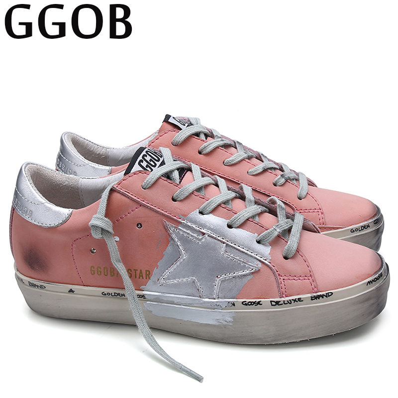 GGOB Brand Casual Autumn Flats Shoes Women Sneakers 2018 Pink Genuine Leather Shoes Women Outdoor Girl Korean Shoes Large Size casual fashion women shoes elegant genuine leather flats ol flower design printing leather shoes famous brand girl shoes f002